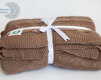 Organic Cotton Cable Knit Throw YourLovelyBedding Chocolate Color Gorgeous Luxury Quality
