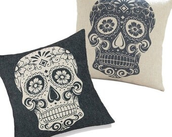 Set of 2 Retro Black & White Floral Skull Decorative Throw Pillow Cover Cushion Case Christmas Gifts