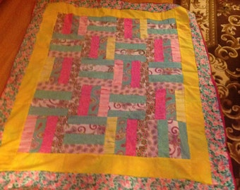 Pink and turquoise stripes throw
