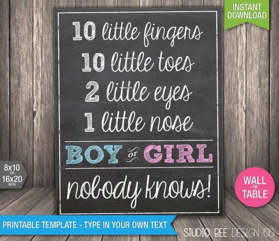 Italian Boy Name: Gender Reveal 10 Little Fingers Poster INSTANT DOWNLOAD