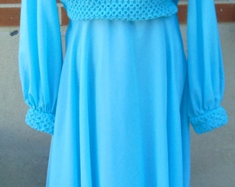 REDUCED - Vintage Bright Blue Evening Gown - Vintage Bride Maid's Dress, Maxi Dress 1960/1970