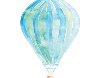 Hot Air Balloon Watercolour Print