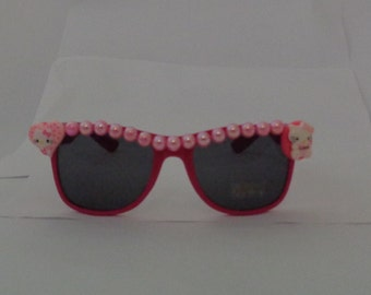 RTS Hello little baby PINK Kitty sunglasses beaded unique novelty girl cute gift fun silly uv eyewear rose bow love heart embellishe summer