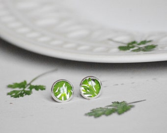 Green leaves Resin Earrings Pressed plants Vegetal Earrings Pressed leaves Botanical Jewelry Dried leaves Rond Earrings Resin Jewelry