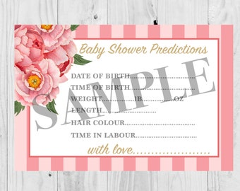 Instant Download, Baby Shower Prediction card, floral, it's a girl, pink.