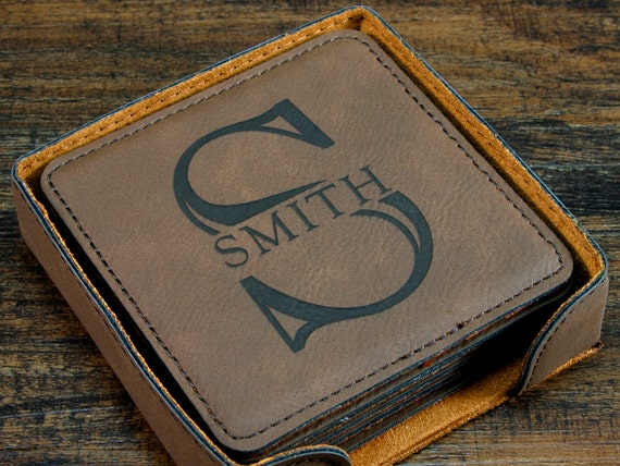 personalized coasters with monogram leather coasters