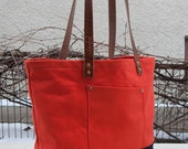 Canvas Market Tote - FREE Shipping in US - Water Repellent & Waxed Canvas - Orange/Black - Bridle Leather - Copper Rivets - Made in USA
