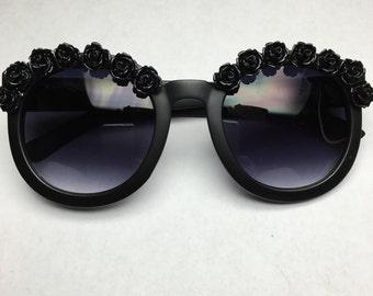 New York Matte Black Flower Sunglasses Festival Coachella