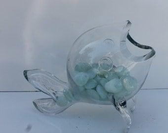 Blenko Clear Art Glass Vase Sculpture.