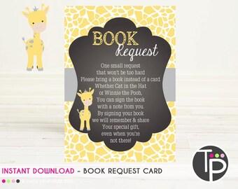 GIRAFFE Book Request Card, Instant download BOOK REQUEST Card, Giraffe Baby Shower, Book Request Card, Baby Shower, Books for Baby Card 0102