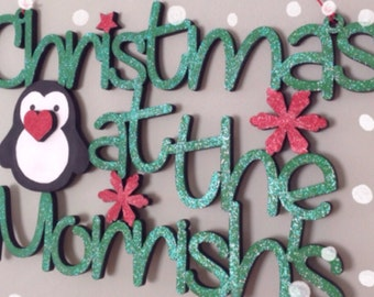 Skinny Letters Christmas At The... Penguin sign by Duck Duck Goose xxx