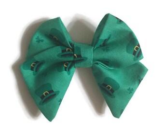 Leprechaun Hat Tailed Fabric Bow