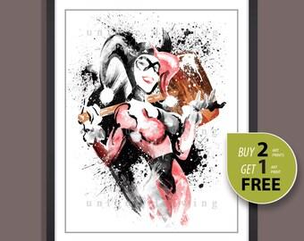Superhero poster, Harley Quinn poster, Harley Quinn print, Batman wall poster, Batman art print, Kids Decor print, Superhero wall art, 3592