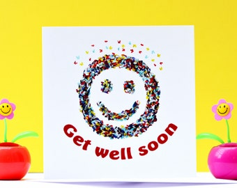 Get well soon card, Butterfly Get Well Card, Smiley Get Well Soon Card, Get Well Soon Blank card,  Get Well Soon Funny Card,