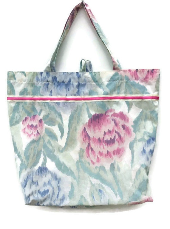 Reusable Shopping Bag Tote Bag Soft Green Pink Blue Floral