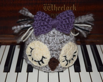 Newborn Owl hat with bow