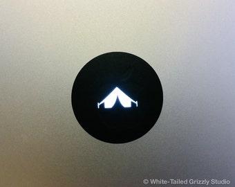 TENT MACBOOK DECAL - Macbook Apple decal - Macbook Apple light cover - Mac Decal - Apple Laptop - Tent Decal - Camping Decal
