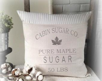 Sugar Sack Pillow Cover, Fall Decor Pillow Cover