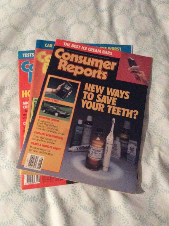 SAVE 25% WITH CODE: SAVE25 Lot of 3 Vintage 1989 Consumer Reports Magazine Magazines