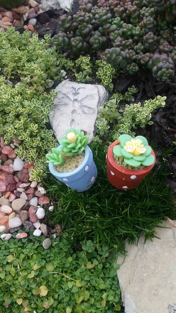 Fairy Garden Miniature Pots With Artificial Flowers Set Of 2