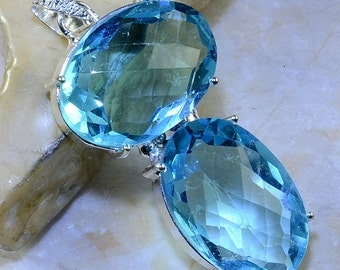 Two Stone Faceted Blue Topaz Sterling Silver Pendant 2 1/2""