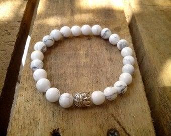 8 mm Howlite stone beads, Stretch Bracelet,Buddha Tibetan Silver, Beadwork, Bracelet