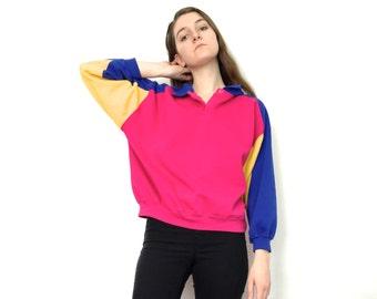 80s 90s Bright Multicolored Color Block Collared Polo Sweatshirt Top