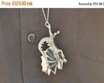 ON SALE The Conquered Dragon, Silver Dragon Pendant, Sterling Silver, Jewelry, Necklace, Dragon Necklace