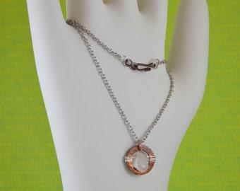 Pendant Necklace - Hammered copper disc - OOAK