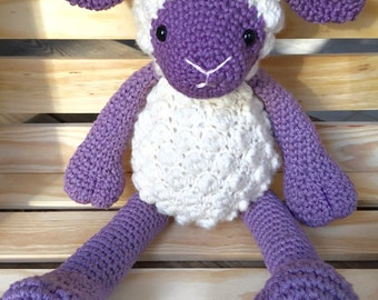 Hand crochet knitted sheep toy Rosa