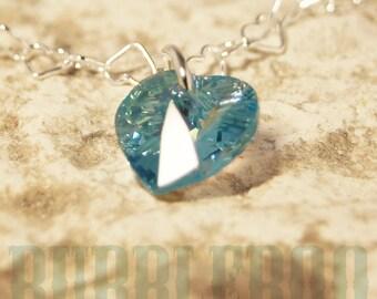 Swarovski Aquamarine Heart Shape Birthstone Bracelet - Aquamarine - March - blue