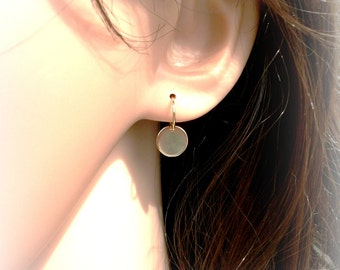 Petite Gold Disc Earrings On Gold Filled Ear Wires - Contemporary Earrings - Gift For Her