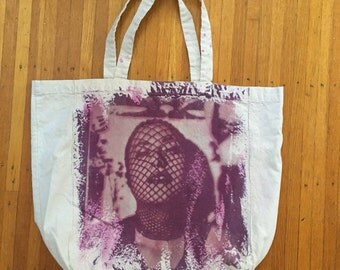 "Hand dyed uv printed cotton tote-""Kayla"" in purple & magenta"