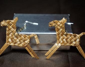 Horse Earrings woven with Cedar Bark