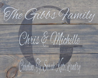 pallet sign Name Sign Family Name Sign rustic Pallet wood Sign Personalized Home Decor Housewarming Gift Wall Decor Initial Sign