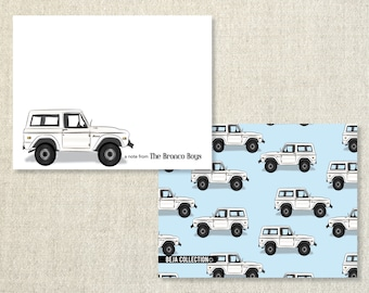Personalized notecards - WHITE FORD BRONCO