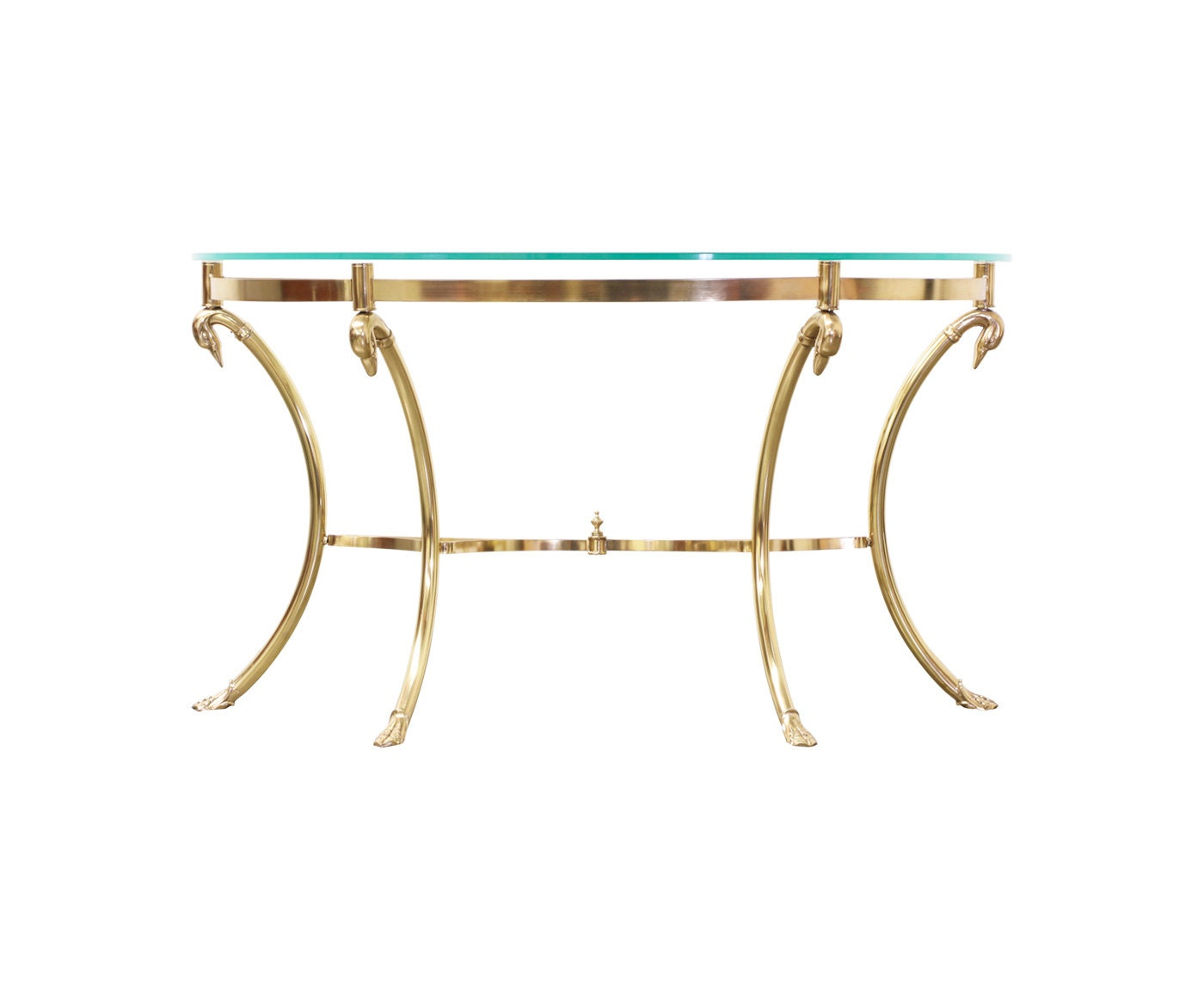 Vintage brass goose head hoof foot console table w for 5 foot console table