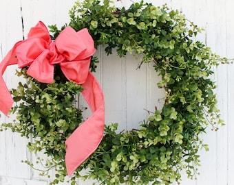 Boxwood Wreath, Spring Wreath, Faux Boxwood Wreath, Farmhouse Wreath, Coral Wreath, Wedding Wreath, Greenery Wreath, Green Wreath, Wreaths