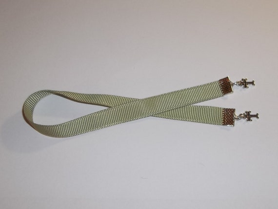"""Crosses Light Sage Green Grosgrain 3/8"""" x 9"""" Ribbon Bible Bookmark Hand Crafted by Kat's Kreations"""