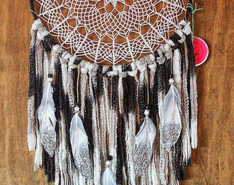 "Dreamcatcher /one of a kind/ Extra Large 12"" hoop Doily Dreamcatcher, ""Crescent Moon""black, gray, silver"
