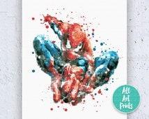 Spiderman Print Spiderman Poster Spiderman Art Spiderman Wall Art Spiderman Decor Superhero Poster Watercolor Download Instant Download