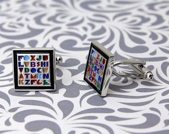 ON SALE Alphabet Teacher Gift Cufflinks