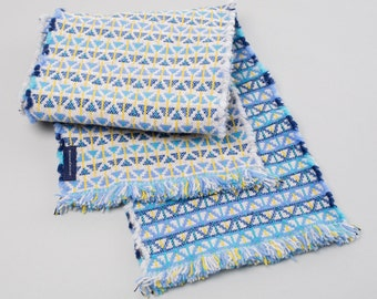 Blue, Navy, Yellow & Grey Handwoven Lambswool Scarf - Triangle Design
