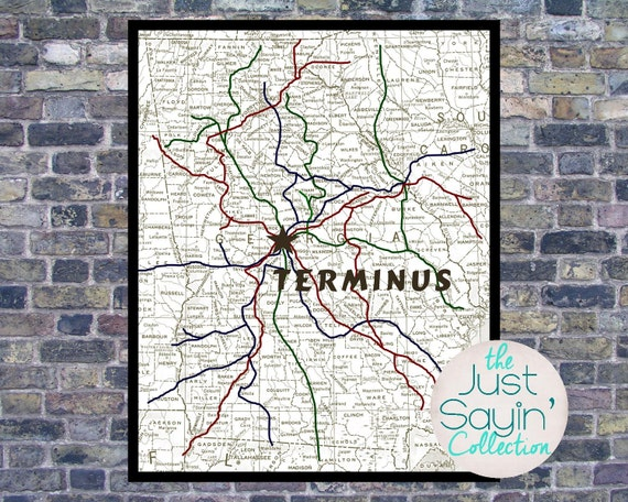 Items similar to The Walking Dead Terminus Map TV Prop Wall Art Rick Grimes