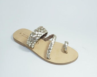 Greek Leather SANDALS (42 - Silver)