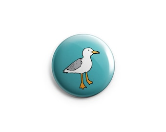 Seagull button - Seagull Magnet, stocking stuffer, bird badge, seagull pin, gift for her, fun gift, gift under five, bird pin, fridge magnet