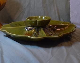 Los Angleles Callifornia Retro Chip and Dip Ceramic Retro Olive Avacado Green With Fruit Motif Platter 1960's