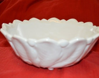 Indiana Lily Pond Wild Rose Milk Glass Sculpted Footed Bowl Scalloped Rim Wedding Decor
