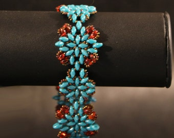 Bronze and turquoise Cuff Bracelet