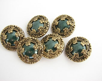 Green and golden woodland buttons, metal imitation shank buttons with green heart, 19 mm, unused!!